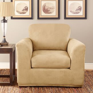 Sure Fit Stretch Suede Chair 2 Piece Bench Seat Slipcover